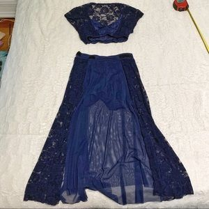 Kellé Navy Lace Two Piece Dance Costume Small